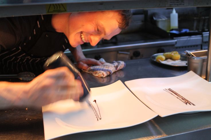 Our chef - hard at work plating up our delicious dishes! #platingup #masterchef #perth #boatshed www.boatshedrestaurant.com