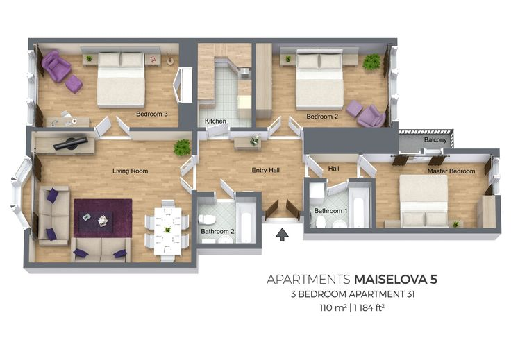 Floorplan of a three bedroom apartment No. 31 in Maiselova 5 Apartments