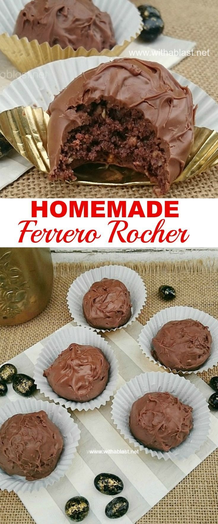Make these worldwide popular Ferrero Rocher treats at home using only FOUR ingredients - quick and easy ! #copycatrecipe #FerreroRocher #candyrecipe #chocolatetreats