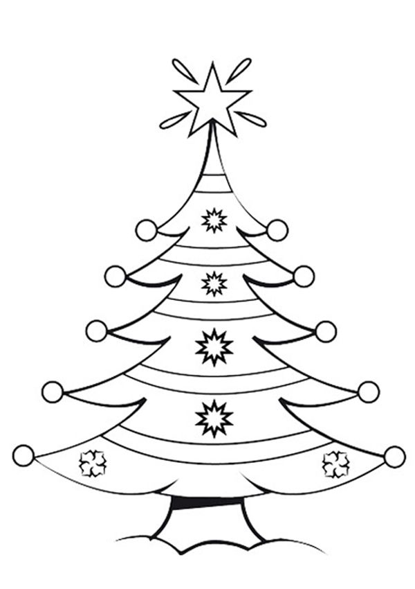 Free Online Christmas Tree Colouring Page