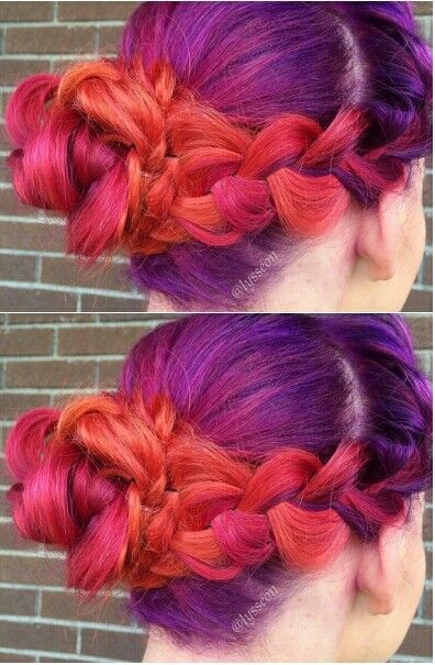Purple orange pink braided dyed hair color @lysseon