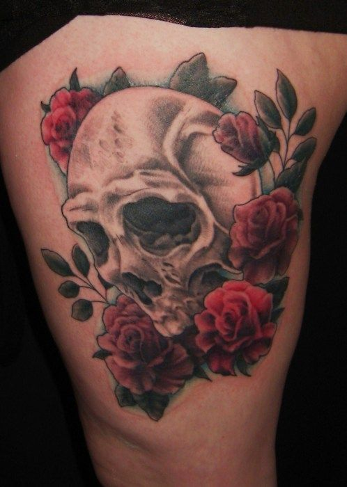 1000 ideas about skull thigh tattoos on pinterest for Skull love tattoos