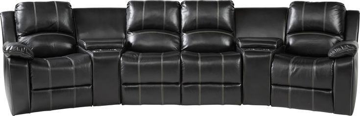 Fenway heights black 5 pc leather sectional leather