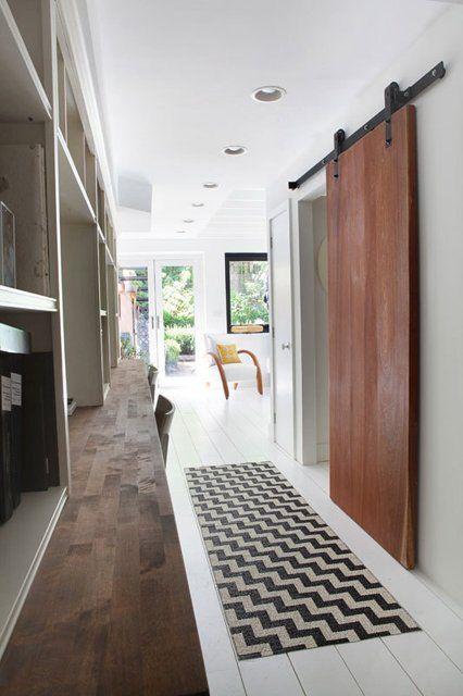 sliding door and room divider for yurt or barn.  wood + white