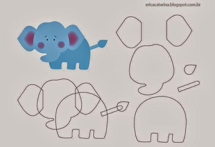 Eu Amo Artesanato: Moldes de feltro: elefante, leãozinho, cavalinho, girafa, hipopótamo, macaquinho, passarinho, tigre, zebrinha, ovelha, pintinho, porquinho, vaquinha, galinha, gatinho e cachorrinho.