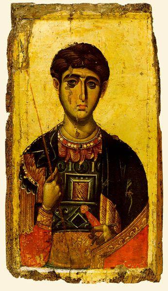 Άγιος Δημήμητριος ο Μυροβλύτης ,Φορητή εικόνα 14ος αι. Μονή Βατοπαιδίου
