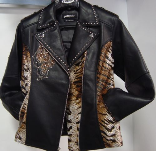 New Women's Pelle Pelle Jacket Outerwear Authentic 11400 Biker Black Plush   eBay
