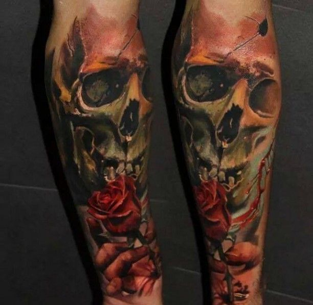 3d totenkopf rosen tattoo awesome tattoos pinterest. Black Bedroom Furniture Sets. Home Design Ideas