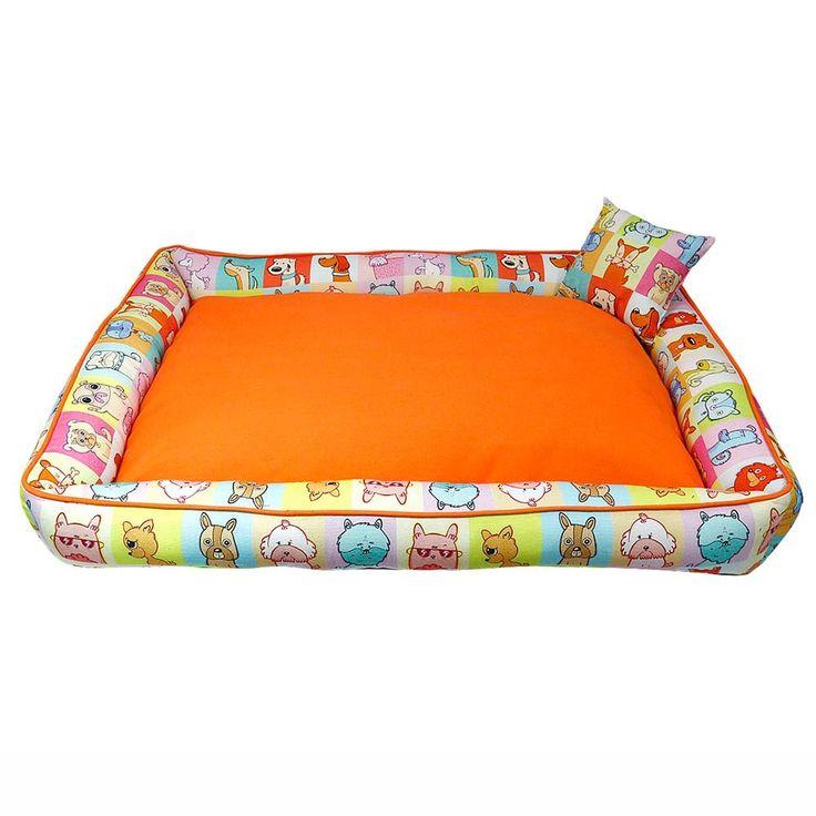 HUFT Pettraits Orange Dog Bed Large with Cushion