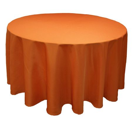 TCPY-120OR 120 Inch Round Polyester Orange Tablecloth
