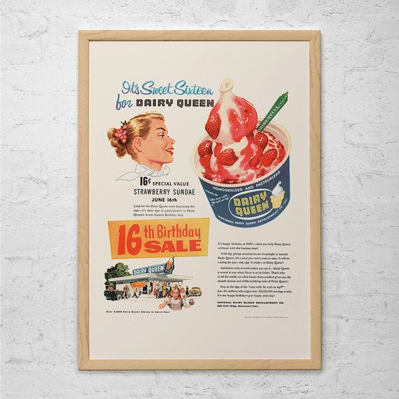 VINTAGE DAIRY QUEEN Ad - Retro Mid-Century Ad - Vintage Kitchen Poster 1950's Retro Ad Kitsch Poster Retro Home Decor Mad Men Party