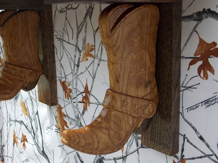 Cowboy Boot Shelf Brackets with Reclaimed Pallet Wood Floating Shelf ~ Rustic Wall Shelves ~ 3D Custom Wood Carving by TheWoodGrainGallery - pinned by pin4etsy.com