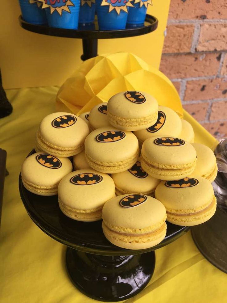 Batman birthday party macarons! See more party planning ideas at CatchMyParty.com!