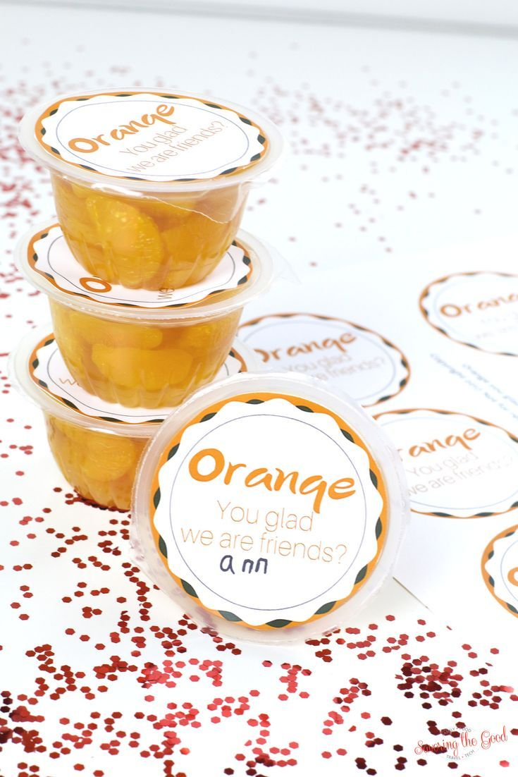 Mandarin Orange Cup Valentine Free Printable. A mandarin orange cup that is super simple for Valentine's Day. Great for schools that are candy free, nut free or allergy friendly. This is so super simple and you are able to send this Valentines in with your kids. You can get these complete in minutes.