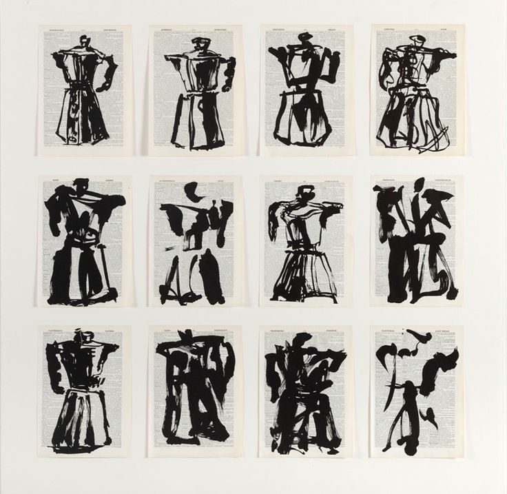William Kentridge  Twelve Coffee Pots, 2012  Linocut printed on non-archival pages from Shorter Oxford English Dictionary