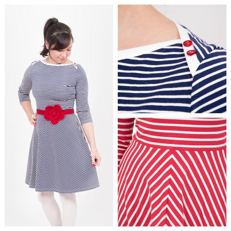 Kleid aus Streifenstoff selbernähen