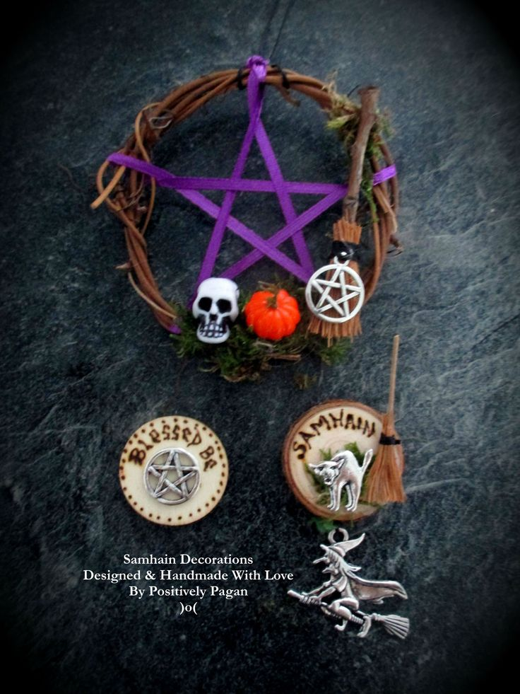 samhain pagan decorations protection witch halloween blessing handmade cat luck