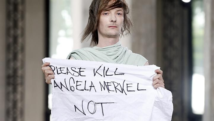 Model at Rick Owens Fashion Show in Paris Protests Angela Merkel #AngelaMerkel, #AngelaMerkel, #RickOwens