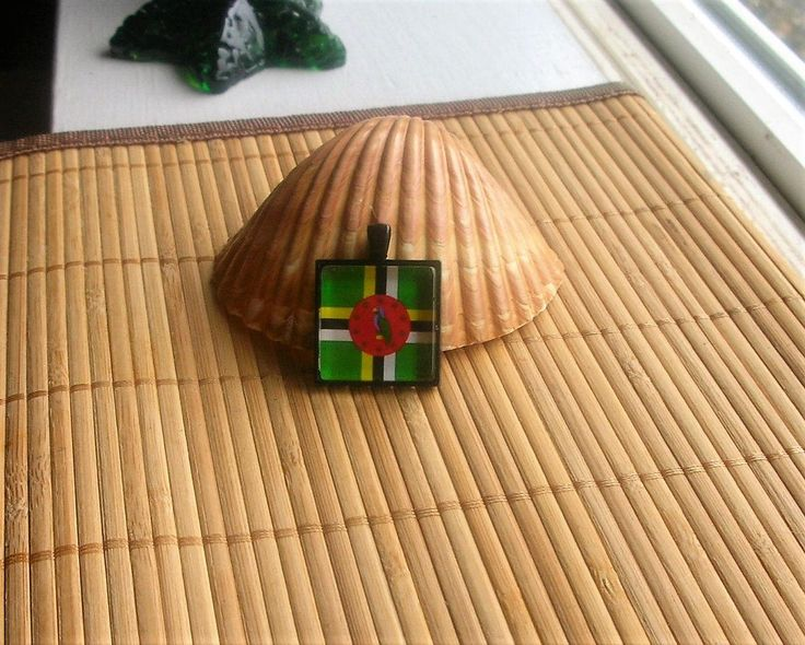 Dominica Flaf Glass Tile Pendant and / or for a key chain by DingolayFusedGlass on Etsy