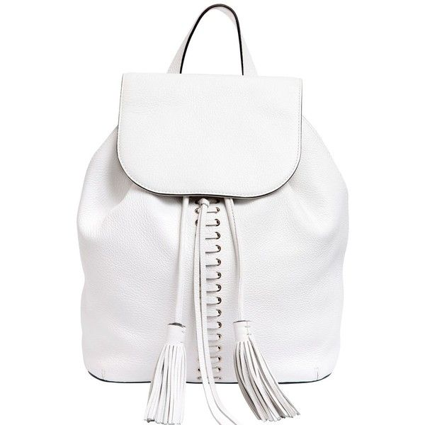 REBECCA MINKOFF Moto Leather Backpack - White ($405) ❤ liked on Polyvore featuring bags, backpacks, white, white backpack, rebecca minkoff backpack, drawstring bag, white leather bag and drawstring flap backpack