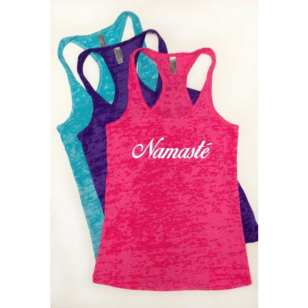 Namaste Shirt Yoga Shirt Soft & Comfy Burnout Racerback Tank Top... ($20) ❤ liked on Polyvore featuring pink, tanks, tops and women's clothing