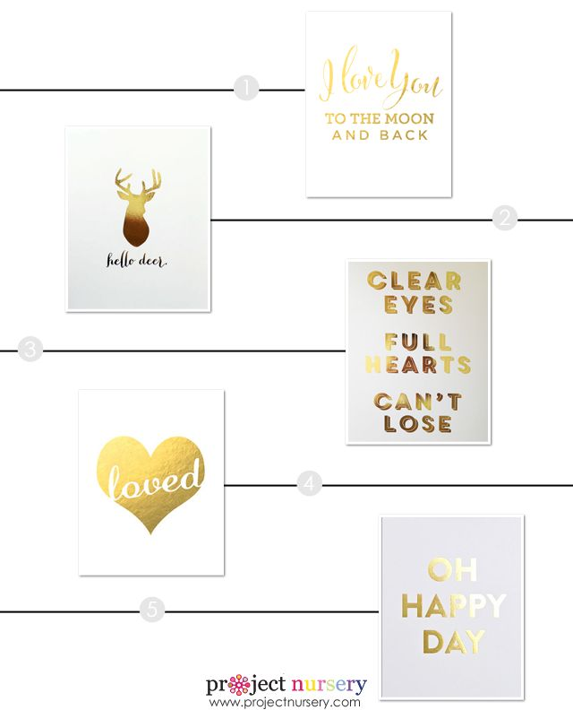 Nursery Tip: A smart way to incorporate gold in the nursery without a big commitment is to use one of these gorgeous gold foil art prints.: Kids Room