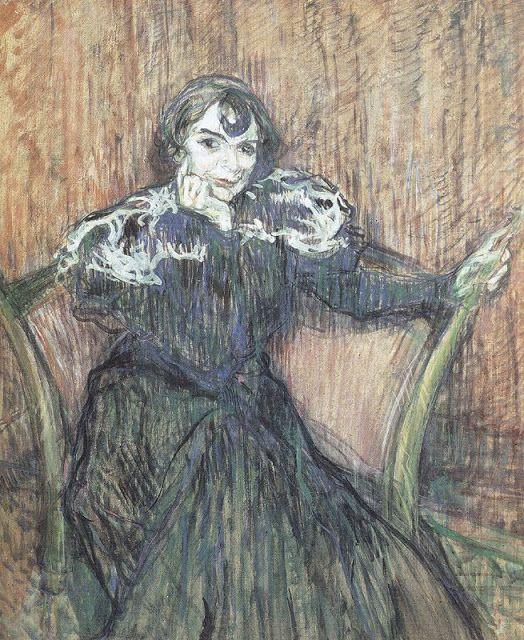 Berthe Bady, 1897.  Óleo sobre cartón. 70,3 x 60 cm.  Albi. Musée Toulouse Lautrec.   En 1897 tuvo que ser recogido de las calles a causa de una borrachera y poco después en un delírium trémens llegó a disparar a las paredes de su casa creyendo que estaban llenas de arañas. Sin embargo seguía pintando de forma firme y rápida; pero lo volvieron a recoger alcoholizado en 1899 y lo internaron en un sanatorio mental. Allí realizó una colección de pinturas sobre el circo.