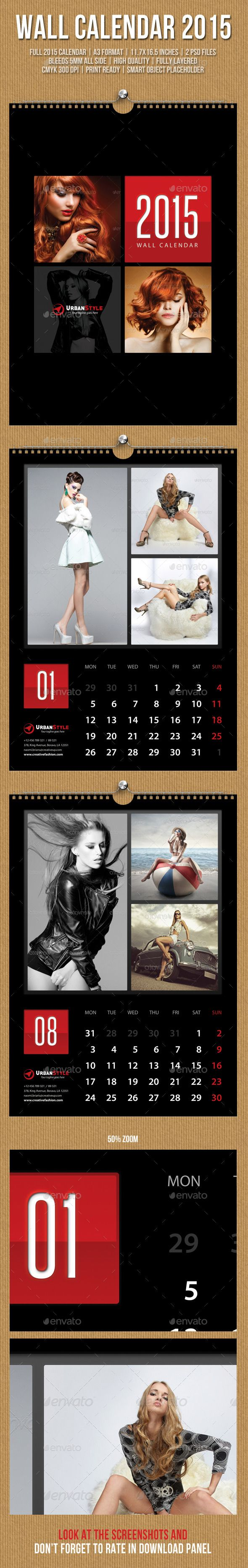 Wall Calendar A3 2015 Template   Buy and Download: http://graphicriver.net/item/wall-calendar-a3-2015-v07/9863688?ref=ksioks
