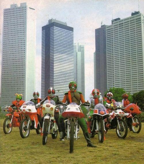The 7 legendary Kamen Riders.