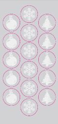 Christmas Silver Foil Embossed Seals, 48/PK