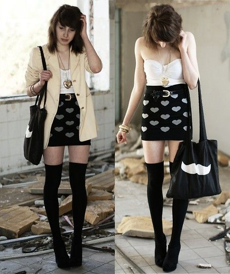 Over-the-knee black socks with matching shoes.