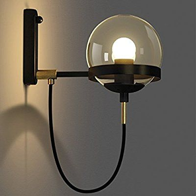 """BAYCHEER HL428601 Industrial Vintage style 5.9"""" Wide Single Light wall sconces Wall Light Lamp with glass Globe shade use 1 E26 Bulb in Black - - Amazon.com"""