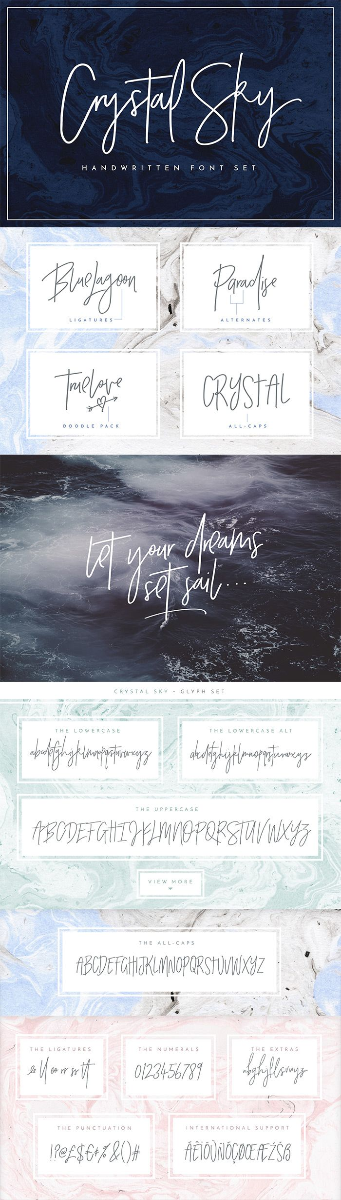 Add a little sparkle to your designs with Crystal Sky! A clean & classy signature-style font set, perfect for creating authentic hand-lettered text quickly & easily.  With exaggerated strokes and an extra bouncy baseline, Crystal Sky has an unmistakable charm; perfect for logos, headers, company or personal branding, product packaging, cards & handwritten quotes. Includes glyphs, alternates and a vector doodle pack