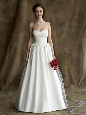 Plain Style Strapless Sweetheart Neckline Empire Waist Satin A Line Wedding Dress