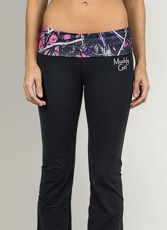 Muddy Girl Camo | Women's Pink Camo Yoga Pants Black