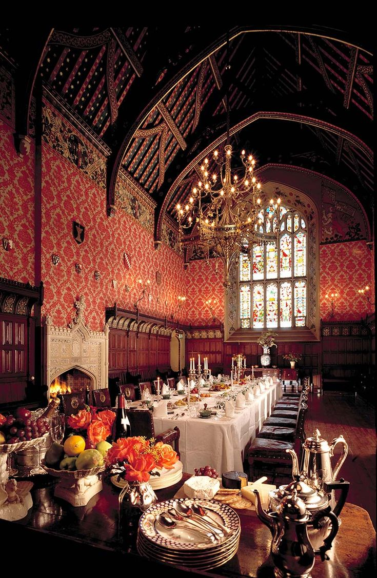 Lismore Castle dining hall, Ireland. That ceiling! Chandelier! Window! I want to stay here!!!