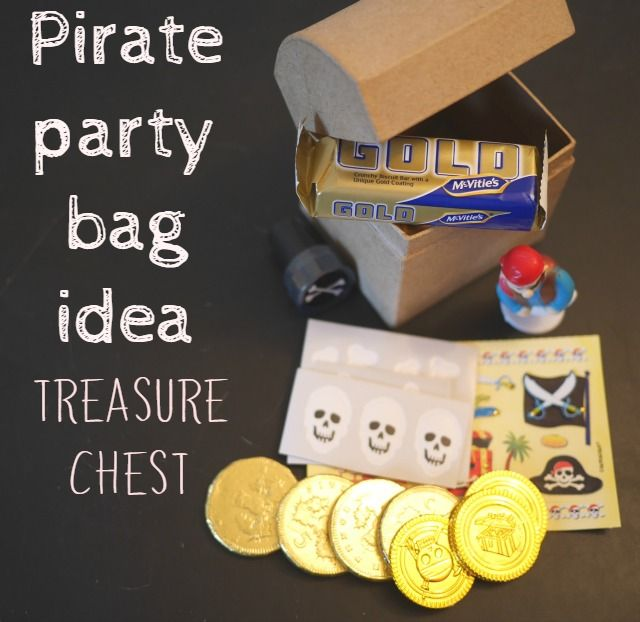 A great party bag idea, perfect for a pirate party theme. Treasure chests to decorate | Bubbablue and me
