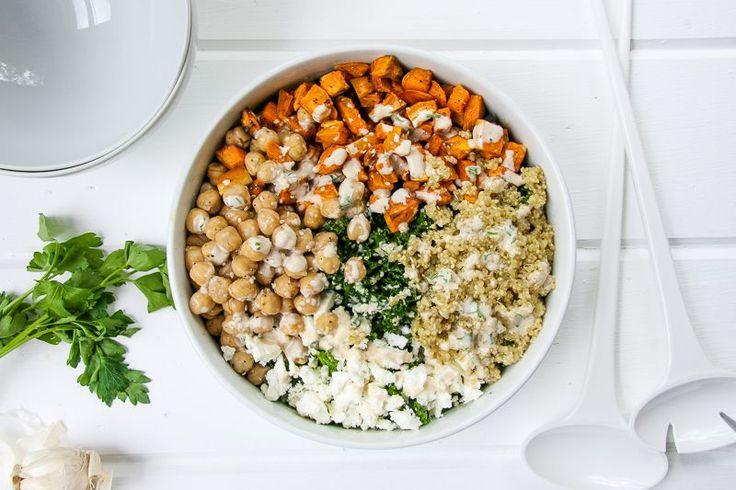 Kale Salad Bowl w/ Tahini makes 4 bowls  For the roasted sweet potatoes: 2 sweet potatoes olive oil salt & fresh pepper  For the tahini: 2 garlic cloves 1 tsp coarse salt 3/4 cup…