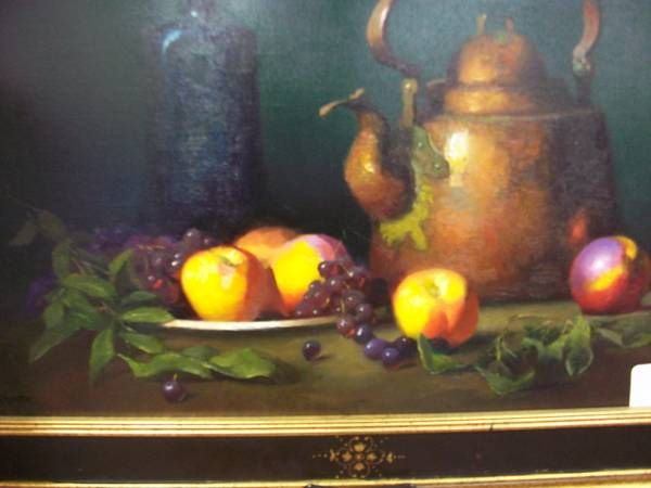 Original Painting By California Artist Ernest Baber Teapot And Nectarines With Images