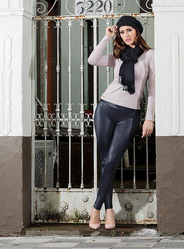 Calça Legging Montaria Cirrê Metalizado Brilho Molhado Gloss Preta  Casual Moda Feminina Rosa Goiaba