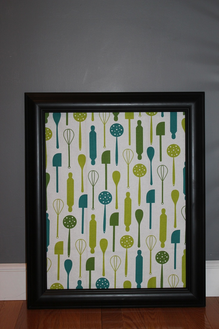 kitchen cork board made out of a 10 frame and c dishtowel - Cork Cafe Decor