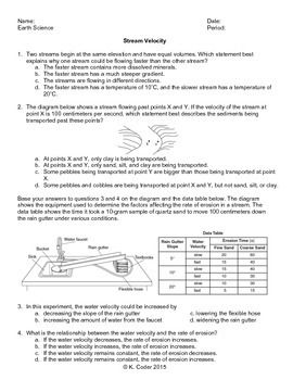worksheet stream velocity with answers explained. Black Bedroom Furniture Sets. Home Design Ideas