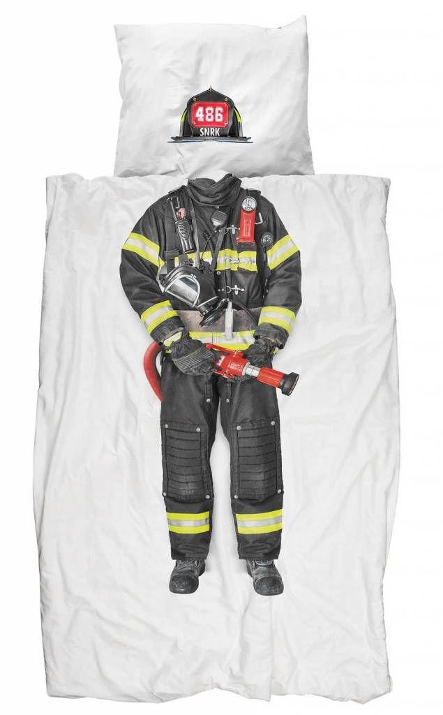 Snurk Duvet 'Feuerwehrmann' weiß / multicolor gestreiften Baumwolle 140x200 cm