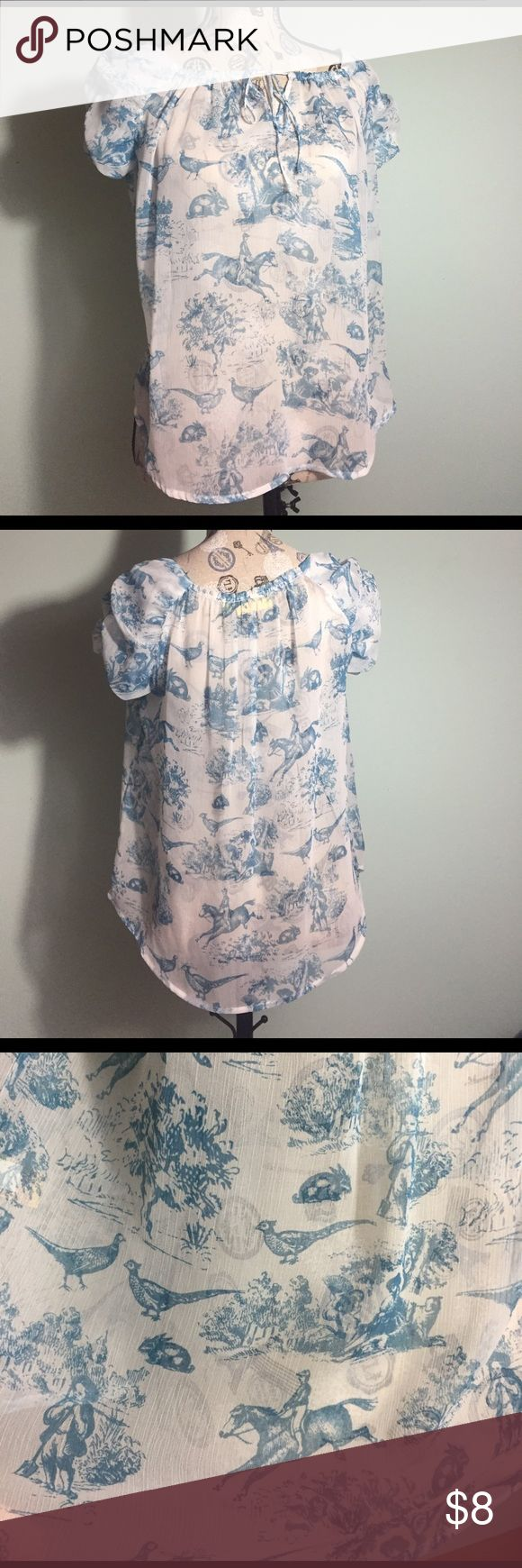 Sheer blue and white blouse Sheer blue and white blouse with a very whimsical pattern Vera Wang Tops Blouses