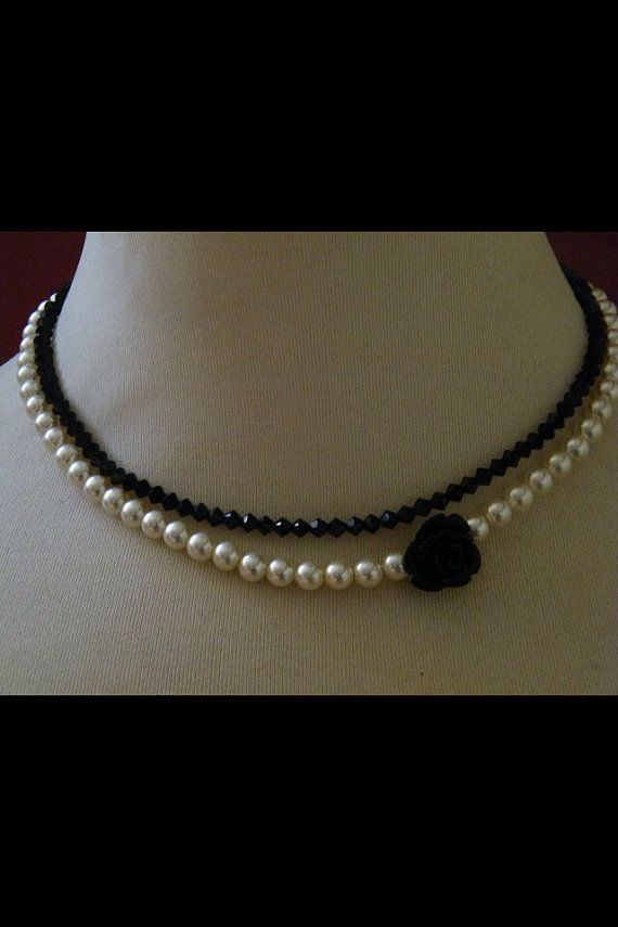Pearl Swarovski necklace with black rose by dodimatto on Etsy