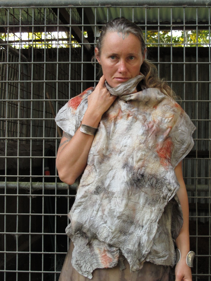 felted wool and silk scarf. Created by Susan Fell Mclean Gondwana Textiles Australia
