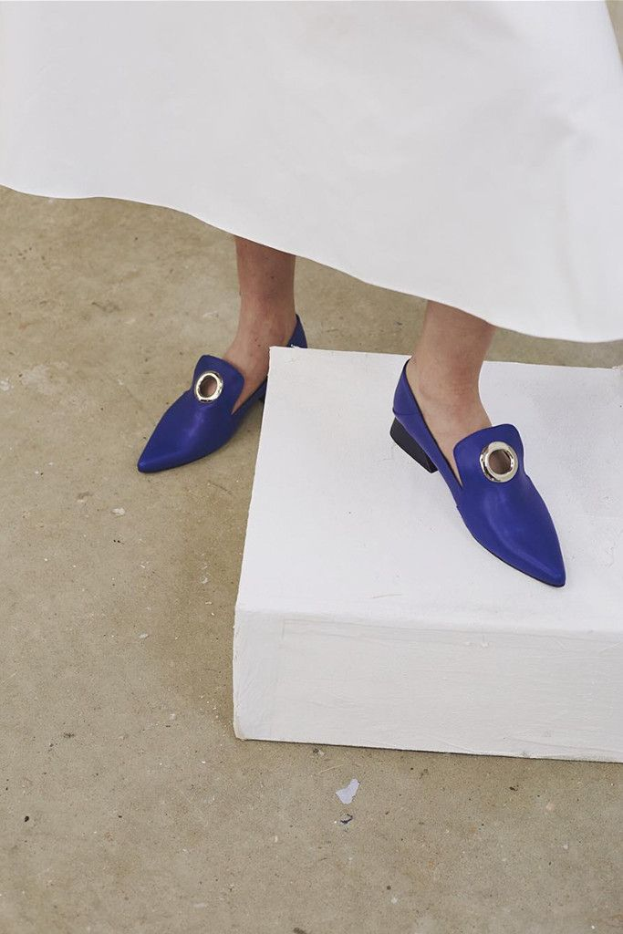 Blue Italian leather outer with navy heel. REJINA PYO