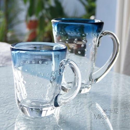 $6.2 Mika Ni Mediterranean style glass tea cup juice drink cup beer mug cup-ZZKKO
