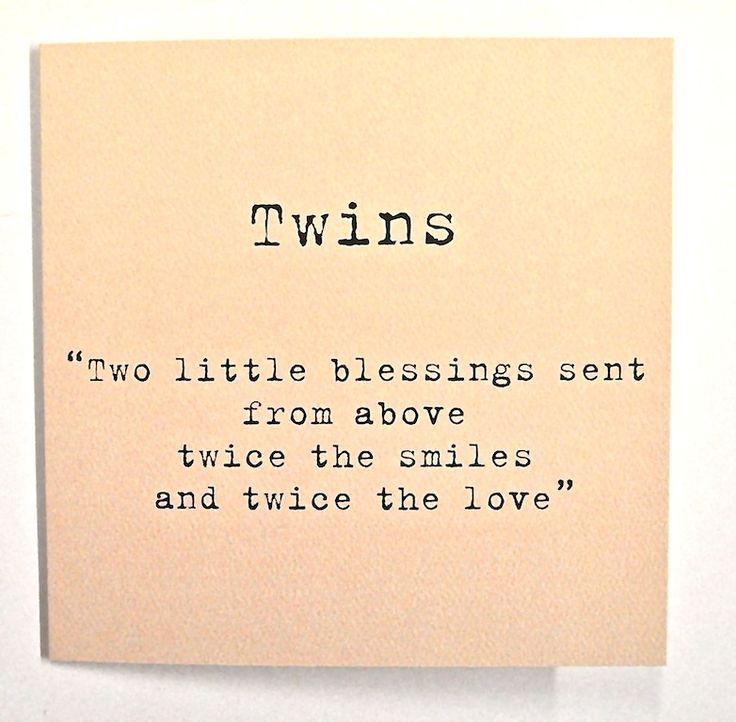 Twins -Two Little Blessings Card Peach