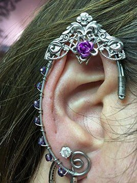 ELVEN EAR CUFFS Silver Celtic Filigree Purple Beads, Fairy Ear Cuffs, Cosplay Elf Ear Cuffs, Fantasy Costume Ear Cuffs